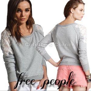 Free People Gray Tattered Lace Sweatshirt